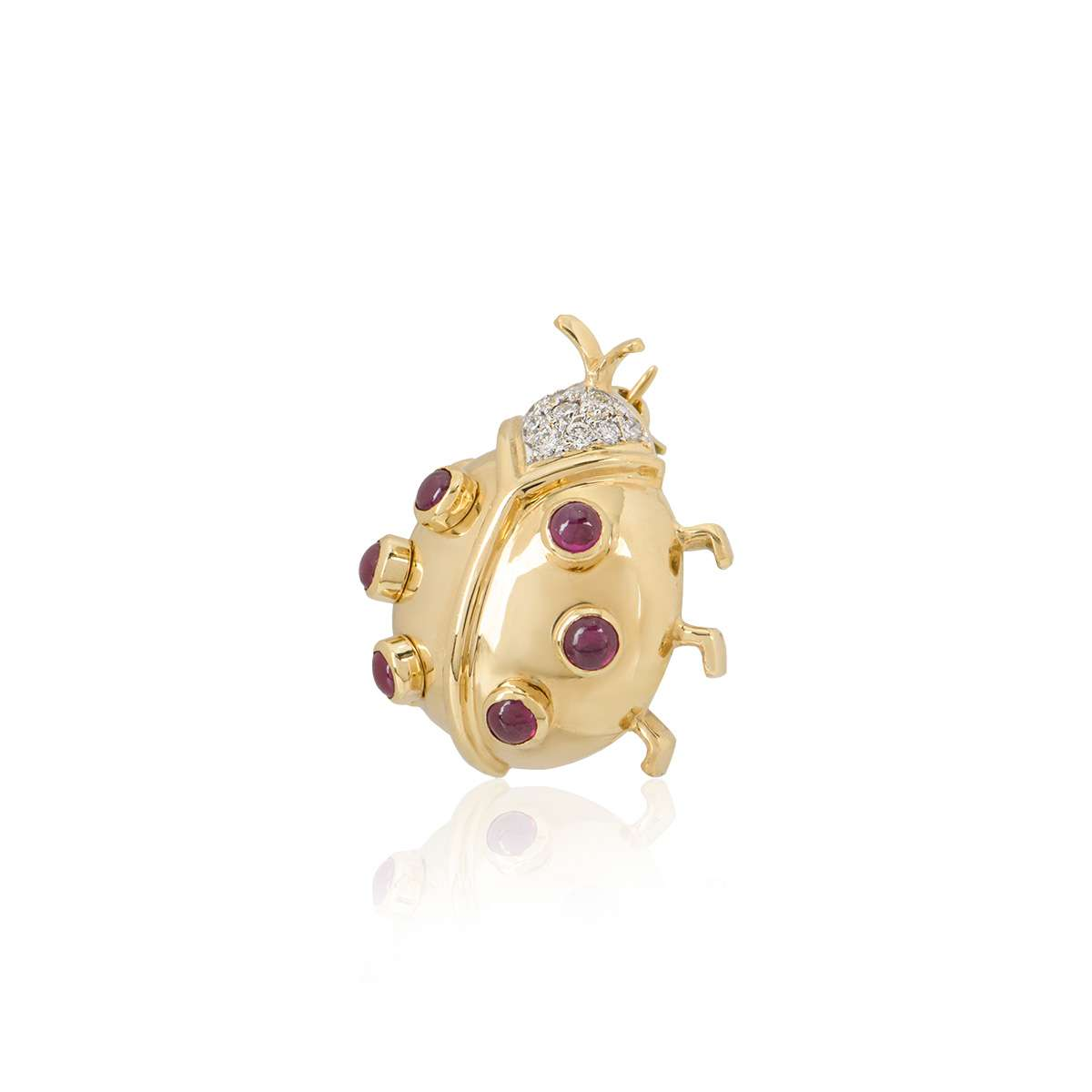Yellow Gold Diamond and Ruby Ladybird Brooch